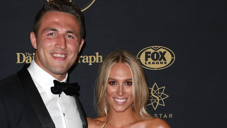 South Sydney Rabbitohs player Sam and his wife Phoebe Burgess at an awards night.