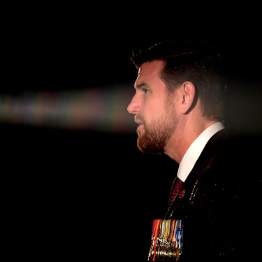 Roberts-Smith speaks on Anzac Day, 2017 in Melbourne.
