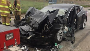 A traffic collision involving a Tesla Model S sedan in Utah in May last year.