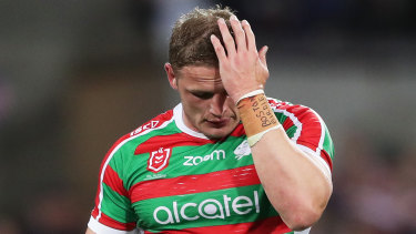 One chance left: George Burgess leaves the field after the humbling loss to the Roosters at the SCG.