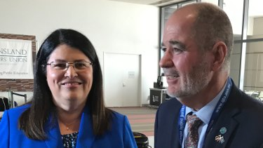 Queensland Education Minister Grace Grace and Queensland Teachers' Union president Kevin Bates at the QTU delegates conference.