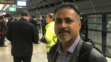 Commuter Paul Nijjar caught his first Sydney Metro Northwest train on Monday.