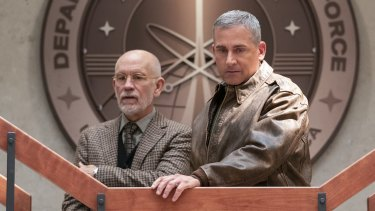 John Malkovich and Steve Carell in Space Force.