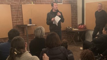 City of Yarra councillor Stephen Jolly addresses a second meeting of residents concerned about the safe injecting room in Richmond.