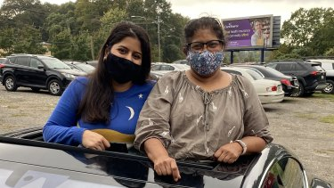 Biden supporters Natasha and Shailaja Singh at a rally in Atlanta.