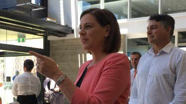 LNP Leader Deb Frecklington was heckled during a campaign stop in Cairns on Wednesday