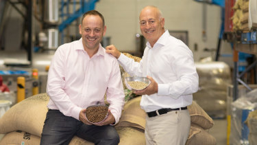 Merlo Coffee chief executive officer and director James Wilkinson and founder Dean Merlo.
