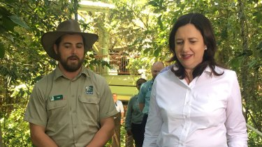 Premier Annastacia Palaszczuk visits the Skyrail tourist attraction in the Daintree Rainforest in north Queensland on Friday.
