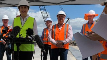 Mr Bailey (right) joined Premier Annastacia Palaszczuk for the announcement in Townsville this morning