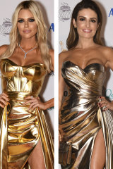 Golden hour ... Sophie Monk (left) and Ada Nicodemou in similar metallic dresses at the Logies. Monk's designer, Jason Grech, has accused Nicodemou's stylist and designer of mimicking his work.