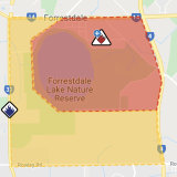 An emergency warning has been issued for residents to the east of Forrestdale Lake.
