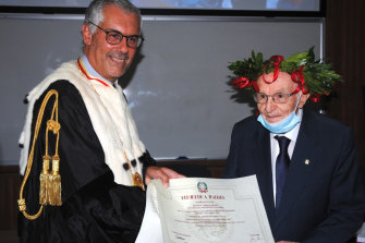 Giuseppe Paterno, 96, right, graduated from University of Palermo with a degree in history and philosophy, becoming the oldest person in Italy to do so.