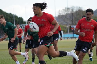 Let It Flow ... the Souths backrower - and his hair - in full flight at training.