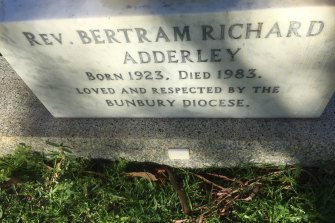 """Loved and respected"": The grave of paedophile priest Bertram Adderley."