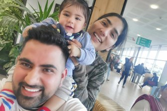 Aman and Preet Chechi with their son Gurman, pictured in December 2019 just before he travelled to India with his grandparents.