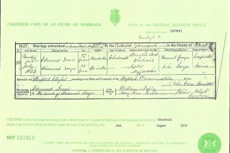 The 1853 marriage certificate of Edmund Lewis and Rosannah Large from the English county of Kent.