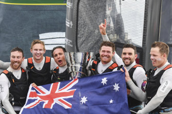 Tom Slingsby (third from right) and Team Australia celebrate winning the SailGP Season 01 Championship in Marseille in August 2019.