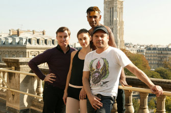 From left: Artistic director of the Australian Ballet David McAllister, principal dancer Kirsty Martin, Bangarra dancer Patrick Thaiday and Bangarra artistic director Stephen Page on tour in Paris.