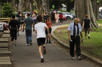 Walkers, runners and cyclists have been flocking to Centennial Park for exercise during the coronavirus crisis.