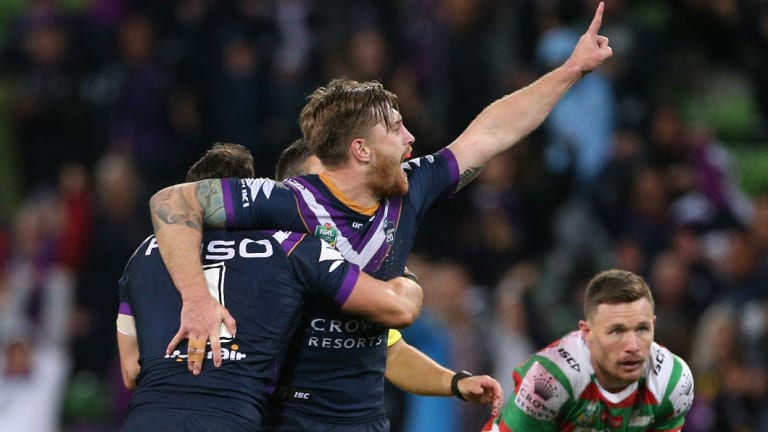 Hammer blow: Cameron Munster delivers victory for the Storm last week with a late field goal.