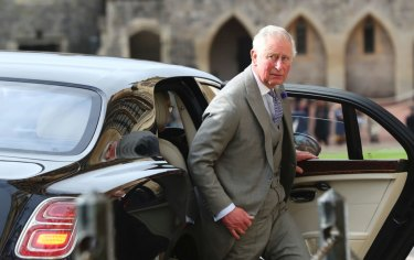 Britain's Prince Charles arrives for the wedding of Princess Eugenie of York and Jack Brooksbank.