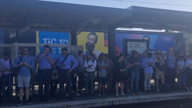 Station platforms were crowded after the faulty train caused delays of up to 90 minutes.