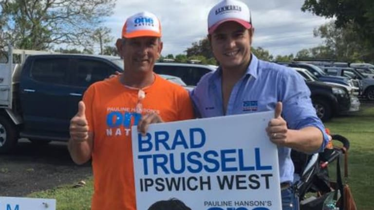 One Nation's 29-year-old  Brad Trussell (right) has worked in an underground uranium mine and is confident of tackling Labor's Jim Madden in Ipswich West.