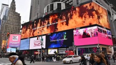 The RFS will have a 20-metre high advert on a billboard in New York's Times Square to thank the firefighters who worked hard over the past few months fighting fires in Australia.