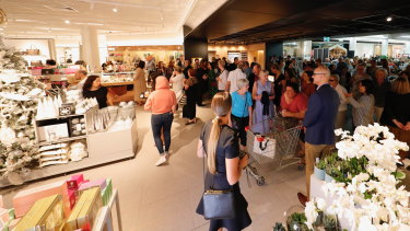 The new entrance at the revamped David Jones Carindale store, featuring sound-proofing and a cafe.