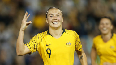 Caitlin Foord scored three for the Matildas in a brilliant performance against Chile.