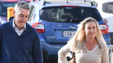The parents of Olivia Inglis, Charlotte and Arthur Inglis, arrive at the inquest on Monday.