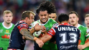 Corey Harawira-Naera  trucks the ball up during the win over the Roosters.