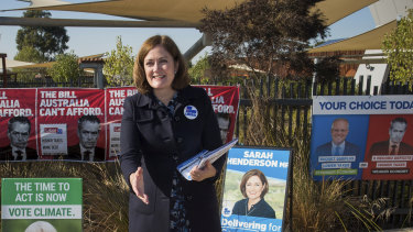 Liberal MP for Corangamite Sarah Henderson campaigning at the Grovedale Community Hub to retain her seat on election day.
