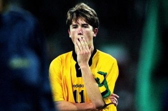 Socceroos star Harry Kewell after Iran ended Australia's World Cup hopes in 1997.