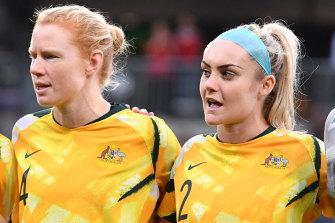 Matildas defender Ellie Carpenter (right) has signed for Lyon.
