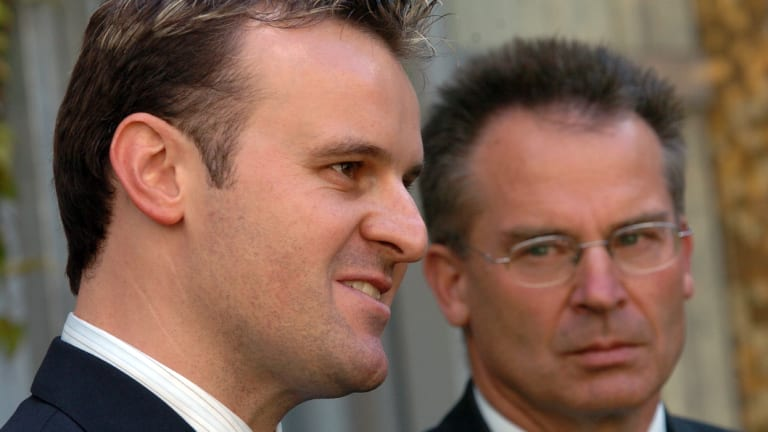 Former chief minister Jon Stanhope (right) with Andrew Barr, the current Chief Minister, in 2006.