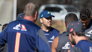 Michael Cheika addresses his troops during training in Johannesburg.
