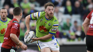 Elliott Whitehead of the Raiders looks to pass during the upset win over the Rabbitohs.