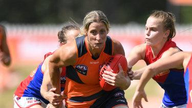 Cora Staunton controls the ball for the Giants.