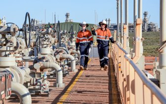 Technicians at Chevron's carbon capture and storage project at the Gorgon LNG site on Barrow Island off Western Australia.