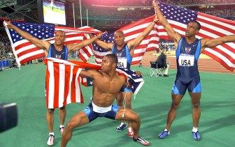Maurice Greene, Brian Lewis, Jonathan Drummond and Bernard Williams III celebrate their relay gold.