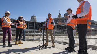 Minister for Transport Andrew Constance addresses media on the metro construction site at Central Station.