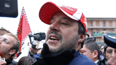 Centre of the storm: Matteo Salvini, leader of the League party greeting well-wishers.