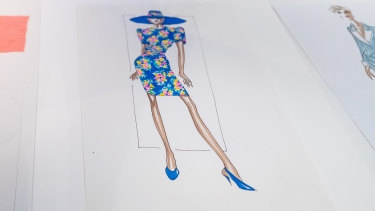 A sketch of the David Sassoon floral dress Princess Diana liked to wear, without the hat, on hospital visits.