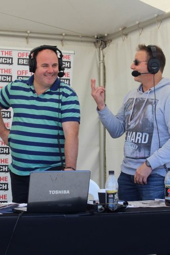 """With his """"Off the Bench"""" co-host in Melbourne, former AFL player Liam """"Pickers"""" Pickering"""