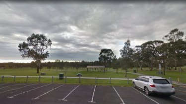 The car park and walking path at Gunns Road Reserve in Hallam.