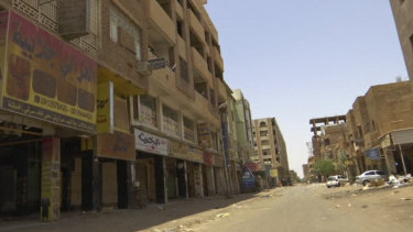 Shops are closed during a general strike in the Al-Arabi souk business district of Khartoum, Sudan, on Sunday.