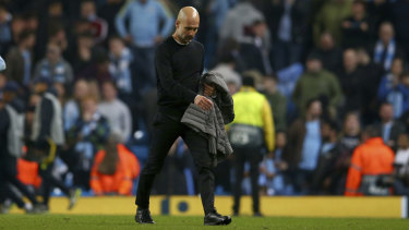 City coach Pep Guardiola, whose side was knocked out of the Champions League in the quarter-finals this season.