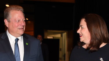 Former US Vice President and environmentalist Al Gore and Queensland Premier Annastacia Palaszczuk arrive at a CEDA event in Brisbane on Friday.