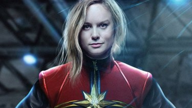 Brie Larson as low-maintenance Captain Marvel in the standalone movie. She ups her lipstick game in Endgame.